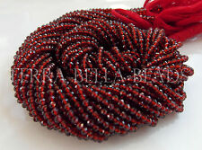 "Full 13"" strand red MOZAMBIQUE GARNET faceted rondelle gem stone beads 3mm"