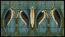 Art Nouveau Cranes Still Life Marble Tile Mural Backsplash 28x16 William Morris