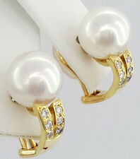 18k Yellow Gold 9.5 mm South Sea Pearl & Round Cut Diamond Earrings Ear Clips