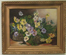"ANTIQUE 19c GORGEOUS FLORAL OIL PAINTING "" PANSIES IN THE BASKET"" , LARGE"