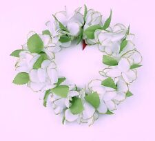Hawaiian Lei Party Luau Haku Head Band Elastic Royal Plumeria White Green Flower