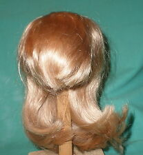 "doll wig/ human hair 12.5"" to 13.5"" blond long hair, fringe hand knitted"