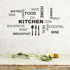 DIY Kitchen Rules Quote Wall Stickers Vinyl Art Mural Decal Removable Home Decor
