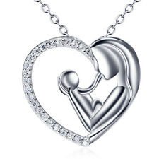 """18"""" Mom and Kids Hug Necklace 925 Sterling Silver Heart Pendant Family Love Gift"""