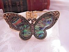LARGE CHRISTMAS GFT ABALONE SHELL GOLD PLATE BUTTERFLY BANGLE BRACELET CUFF GIFT