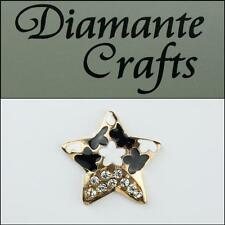 3D Star Gold Alloy Clear Diamante Black White Enamel DIY Case Deco 3ST32013