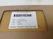 RCD Componets CF12-302-JT 3K Ohm 5% T&R Resistor Lot 5000 CF12302JT New (TB)