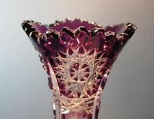 CAESAR CRYSTAL Vase Purple Hand Cut to Clear Overlay Czech Bohemian Cased