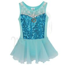 Blue Girls Gymnastics Ballet Dance Tutu Dress Yoga Leotard Outfits Fancy Costume