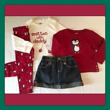 NWT EEUC 2T GYMBOREE Penguin Chalet RED 4pc cotton LEGGINGS DENIM SKIRT TOPS SET