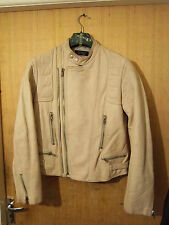 VINTAGE 80'S HALLHUBER TWIN TRACK LEATHER MOTORCYCLE JACKET SIZE S- M