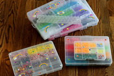 Multi-piece RAINBOW LOOM Rubber Band Kit, thousands of bands, etc. See Descript
