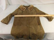 Women's Tailored Women Suede Fur Collar 16 Trench Coat Silk Lined 33107