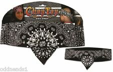 Chop Top: Black Paisley w / Rhinestones Doo Rag Casual Bandana Head Wrap New