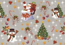 ROUND wipeable oilcloth XMAS fun silver christmas wipe clean vinyl TABLECLOTH CO