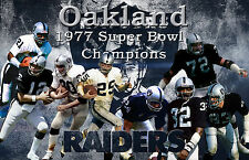Oakland Raiders Lithograph print of Oakland Raiders Super Bowl 11  17 x 11