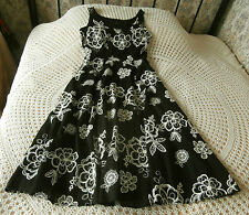 Cotton summer dress by F&F Size 10 Black with cream embroidered floral