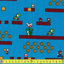 Springs Creative Fabric Super Mario Game Scenes Blue PER METRE Nintendo Retro Co