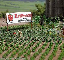 BUSCH 1265 H0 Erdbeeren, 40 Erbeerpflanzen, Bausatz, Neu
