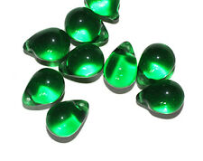 Emerald Pear Drop Czech Pressed Glass Beads 14mm  (pack of 10)