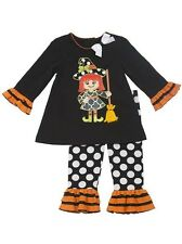 Rare Editions Girls Witch Applique Fall Halloween Dress Outfit Set Size 3M New