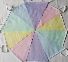 10ft / 3m Handmade Fabric Party Bunting Pastel dot Pink Yellow Green Blue Lilac