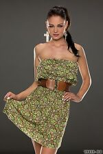 Summer Party Club Wear Chic Floral Tiered Mini Dress with Belt UK size 8-10