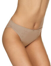 Ladies M & S Sze 14 High Leg Knickers Panties Briefs embroidered overlay Natural