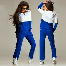 Women Lady 2Pcs Tracksuit Set Hoodies Sweatshirt Tops & Pants Casual Sports Suit