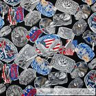 BonEful Fabric FQ Cotton Red White Blue Belt Buckle Country Music Guitar Flag Sm