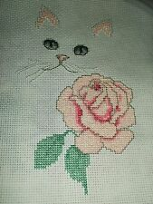 Very pretty Finished cross stitch piece-Cat with Rose