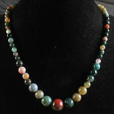 6-14mm Indian Multicolor Agate Onyx Gemstone Necklace 17''