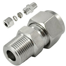 "1/2""NPT x10MM Double Ferrule Tube Fitting Male Connector NPT Stainless Steel 304"