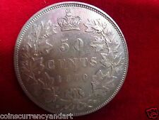 1870 Canada 50 cents  Beautiful Coin From The Queen Victoria Era