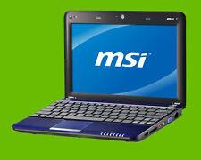 MSI U135 Netbook Intel Atom N450 1.66GHz 1GB RAM 160GB SATA HDD Windows 7 - BLUE