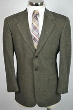 (42R) Bill Blass Men's Brown Herringbone Tweed Wool Blazer Sport Coat Jacket