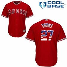 New Mike Trout #27 Anaheim Angels Cool Base Patriot Jersey Red Mens(Large)