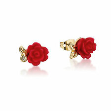 Disney Couture Beauty & the Beast Gold-Plated Enchanted Red Rose Stud Earrings