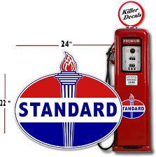 "(STAN-2) 24"" OLD STANDARD TORCH GAS PUMP OIL TANK DECAL GASOLINE LUBSTER"
