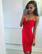 Red Plunge Bandage Bodycon Midi Dress Size 12 -::- Brand New