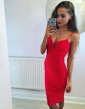 Red Plunge Bandage Bodycon Midi Dress Size 8 -:::::- Brand New