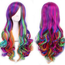 Fashion Womens Long Multi-Color Beautiful Lolita Synthetic Cosplay Wigs