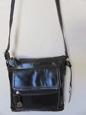 Giani Bernini Florentine Glazed Cross Body Venice Handbag Black Leather Bag