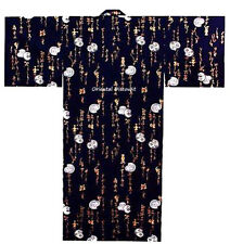 "Japanese Men's Cotton 59""L Yukata Kimono DARUMA Calligraphy Navy, Made in Japan"