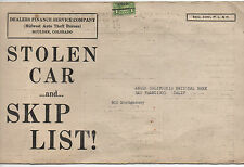 1930s List of Stolen Autos from the Anglo California National Bank