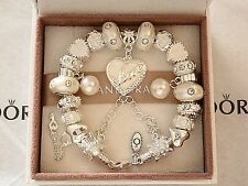 Authentic Pandora Silver Bracelet with White Love European Charms