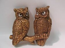 Vtg. 1972 Owl Wall Plaque Universal Statuary Corp. Gold tone Solid back