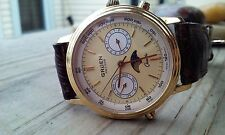 Gruen Quartz Phase Moon  Watch Vintage Men's Brown LEATHER BAND Swiss Made