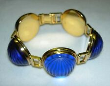 Authentic LALIQUE France Cobalt Blue Nerita Crystal 5 Links Goldtone Bracelet