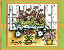 GERANIUM FLOWERS IN WAGON FENCE Wood Mounted Rubber Stamp NORTHWOODS P10000 New